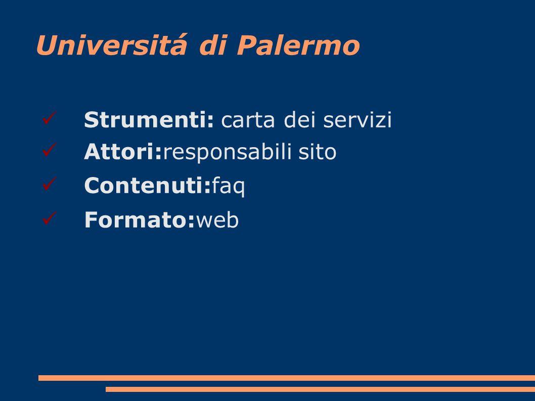Universitá di Palermo Strumenti: carta dei servizi Attori:responsabili sito Contenuti:faq Formato:web