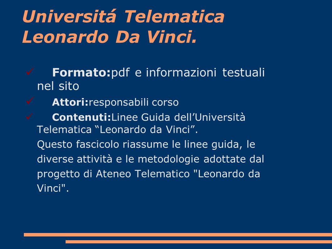 Universitá Telematica Leonardo Da Vinci.