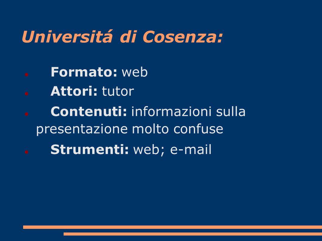 Universitá di Cosenza: Formato: web Attori: tutor Contenuti: informazioni sulla presentazione molto confuse Strumenti: web; e-mail