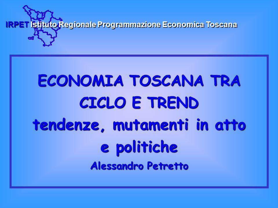 IRPET Istituto Regionale Programmazione Economica Toscana ECONOMIE UE E ITALIA di fronte alla ripresa Nel 2003 l'attività economica di Eurolandia ha ristagnato: PIL +0,4%, soprattutto il 1° semestre è stato di netta recessione Il 2003 in Italia  PIL +0,3%: 1° semestre di contrazione, 3° trimestre in lieve crescita, in frenata l'ultimo trimestre, soprattutto l'industria 1° trimestre 2004: si registra una crescita del PIL più incoraggiante.