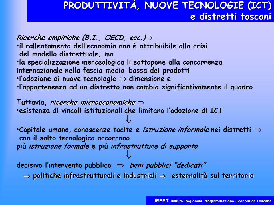 IRPET Istituto Regionale Programmazione Economica Toscana PRODUTTIVITÀ, NUOVE TECNOLOGIE (ICT) e distretti toscani Ricerche empiriche Ricerche empiriche (B.I., OECD, ecc.)  il rallentamento dell'economia non è attribuibile alla crisi del modello distrettuale, ma la specializzazione merceologica li sottopone alla concorrenza internazionale nella fascia medio-bassa dei prodotti l'adozione di nuove tecnologie  dimensione e l'appartenenza ad un distretto non cambia significativamente il quadro ricerche microeconomiche Tuttavia, ricerche microeconomiche  esistenza di vincoli istituzionali che limitano l'adozione di ICT  Capitale umano, conoscenze tacite e istruzione informale nei distretti  con il salto tecnologico occorrono più istruzione formale e più infrastrutture di supporto  decisivo l'intervento pubblico  beni pubblici dedicati  politiche infrastrutturali e industriali  esternalità sul territorio