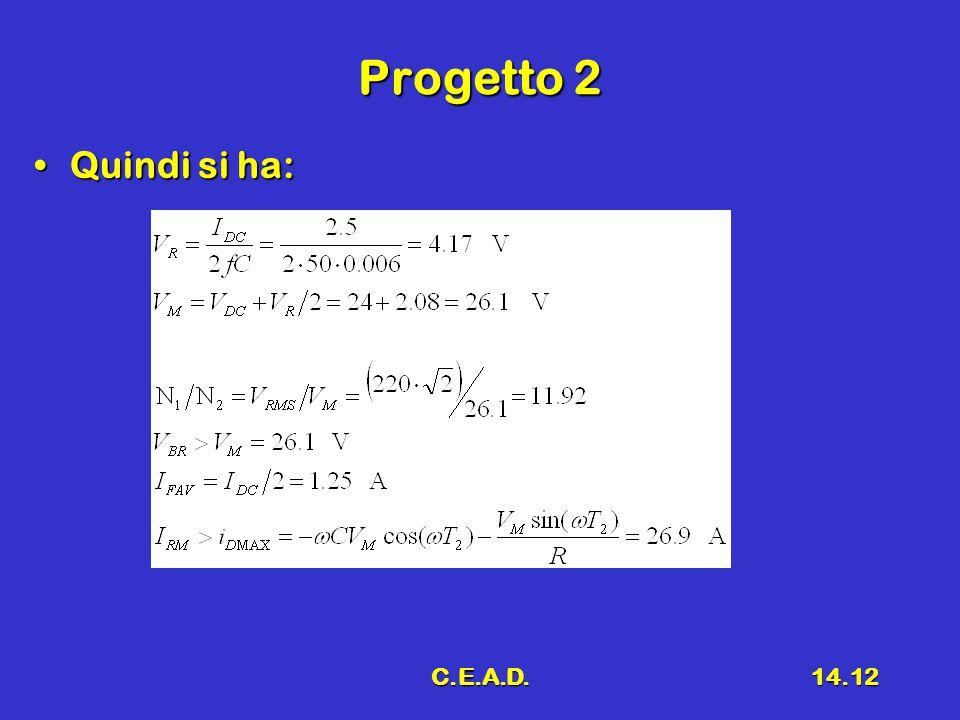C.E.A.D.14.12 Progetto 2 Quindi si ha:Quindi si ha: