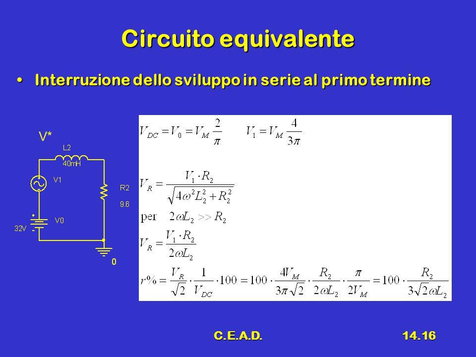 C.E.A.D.14.16 Circuito equivalente Interruzione dello sviluppo in serie al primo termineInterruzione dello sviluppo in serie al primo termine