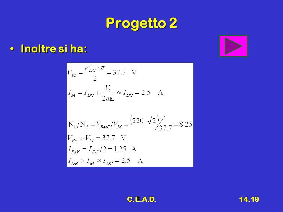 C.E.A.D.14.19 Progetto 2 Inoltre si ha:Inoltre si ha:
