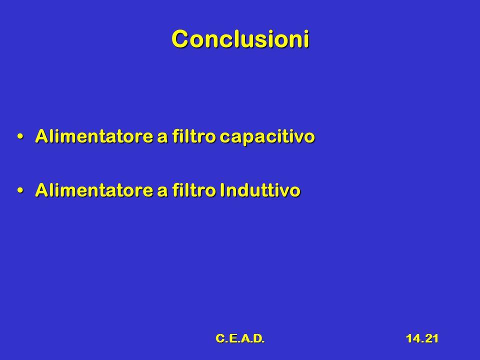 C.E.A.D.14.21 Conclusioni Alimentatore a filtro capacitivoAlimentatore a filtro capacitivo Alimentatore a filtro InduttivoAlimentatore a filtro Indutt