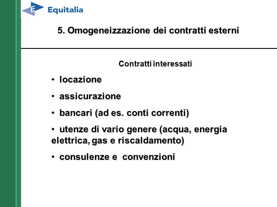 5. Omogeneizzazione dei contratti esterni Contratti interessati locazionelocazione assicurazioneassicurazione bancari (ad es. conti correnti)bancari (