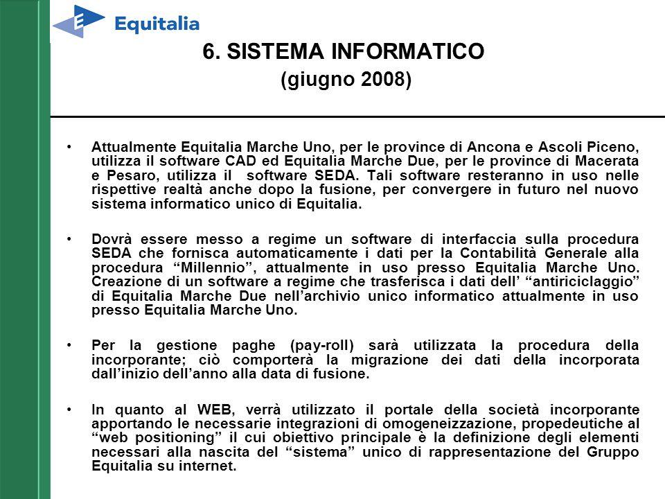 6. SISTEMA INFORMATICO (giugno 2008) Attualmente Equitalia Marche Uno, per le province di Ancona e Ascoli Piceno, utilizza il software CAD ed Equitali
