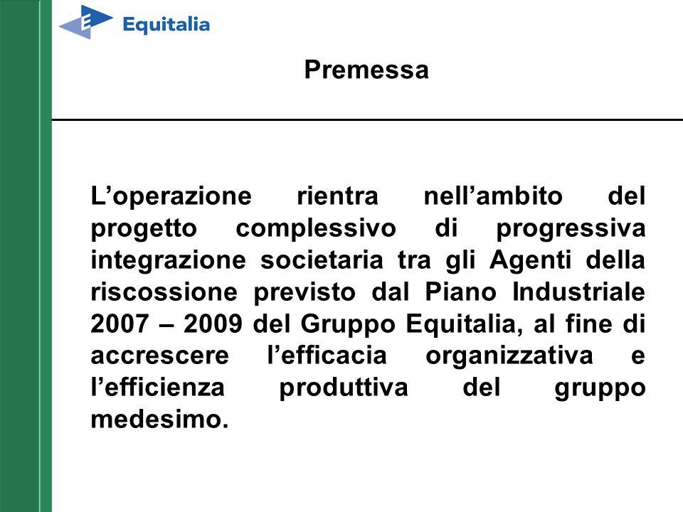 L'operazione rientra nell'ambito del progetto complessivo di progressiva integrazione societaria tra gli Agenti della riscossione previsto dal Piano I