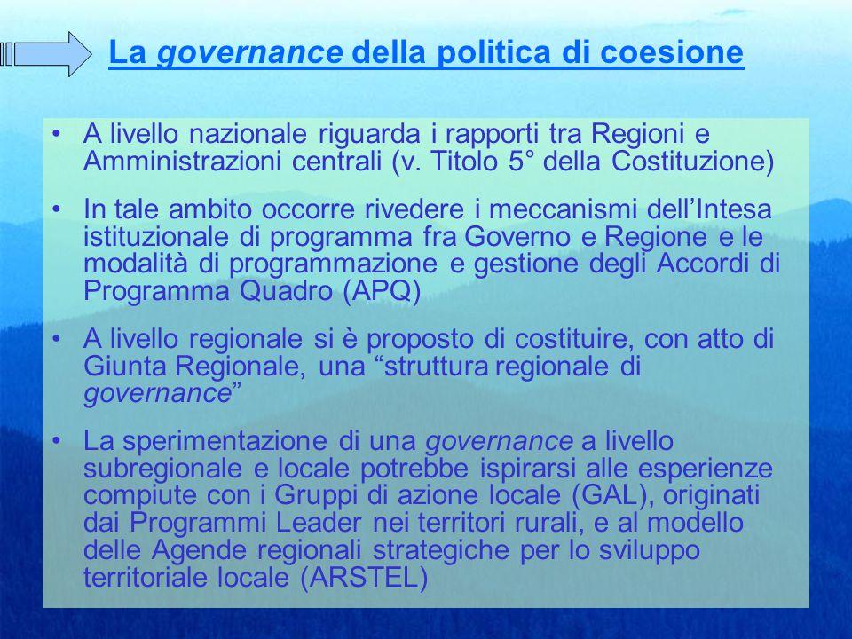 La governance della politica di coesione A livello nazionale riguarda i rapporti tra Regioni e Amministrazioni centrali (v.