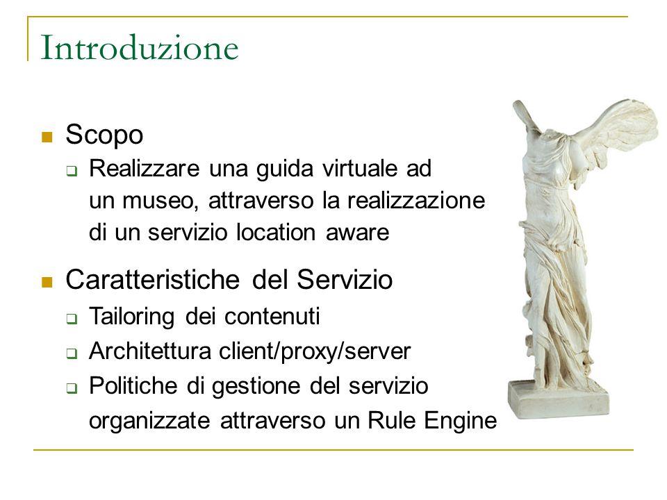 Introduzione Scopo  Realizzare una guida virtuale ad un museo, attraverso la realizzazione di un servizio location aware Caratteristiche del Servizio  Tailoring dei contenuti  Architettura client/proxy/server  Politiche di gestione del servizio organizzate attraverso un Rule Engine