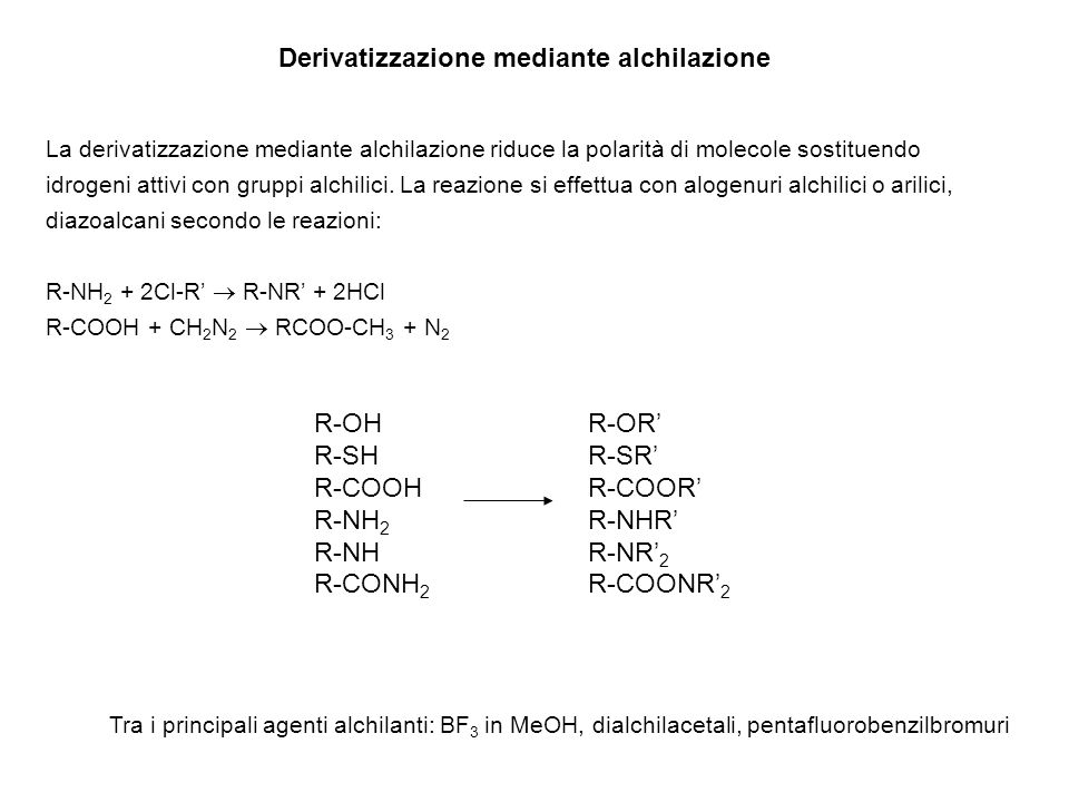 Derivatizzazione mediante alchilazione La derivatizzazione mediante alchilazione riduce la polarità di molecole sostituendo idrogeni attivi con gruppi alchilici.