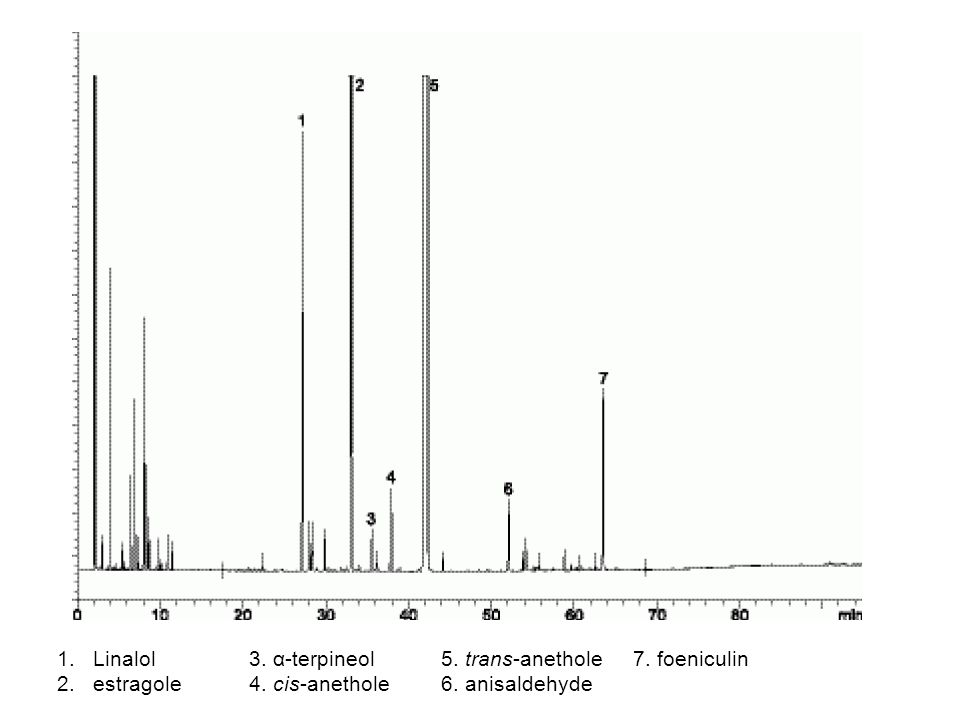 1.Linalol 3. α-terpineol 5. trans-anethole 7. foeniculin 2.estragole 4. cis-anethole6. anisaldehyde
