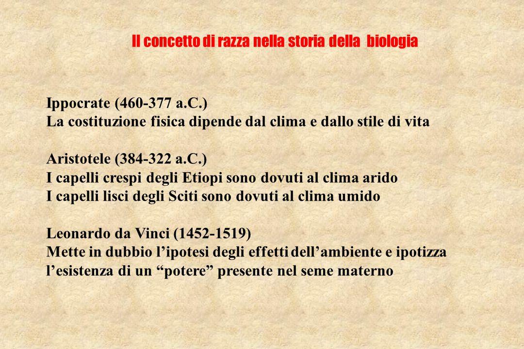 Il concetto di razza nella storia della biologia Ippocrate (460-377 a.C.) La costituzione fisica dipende dal clima e dallo stile di vita Aristotele (384-322 a.C.) I capelli crespi degli Etiopi sono dovuti al clima arido I capelli lisci degli Sciti sono dovuti al clima umido Leonardo da Vinci (1452-1519) Mette in dubbio l'ipotesi degli effetti dell'ambiente e ipotizza l'esistenza di un potere presente nel seme materno