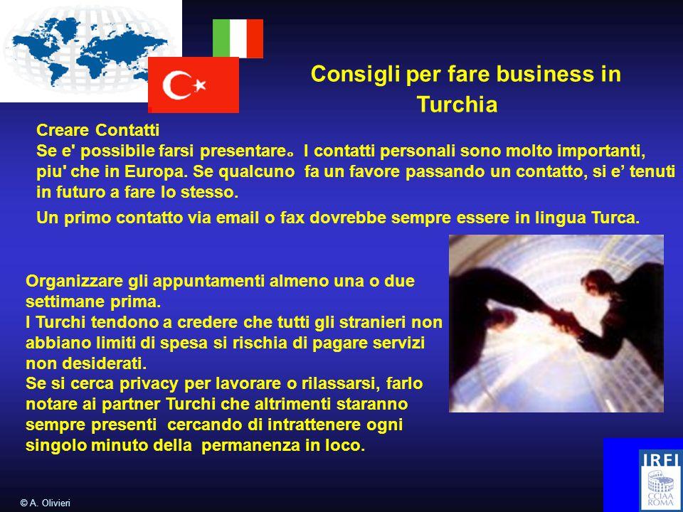 © A. Olivieri Consigli per fare business in Turchia Creare Contatti Se e' possibile farsi presentare 。 I contatti personali sono molto importanti, piu