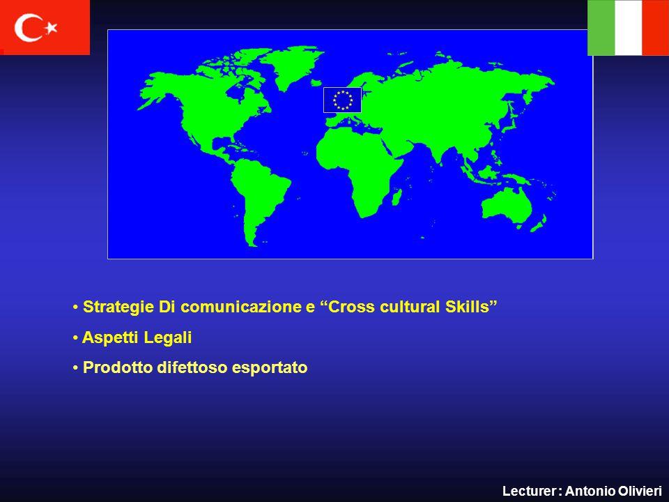 Strategie Di comunicazione e Cross cultural Skills Aspetti Legali Prodotto difettoso esportato Lecturer : Antonio Olivieri