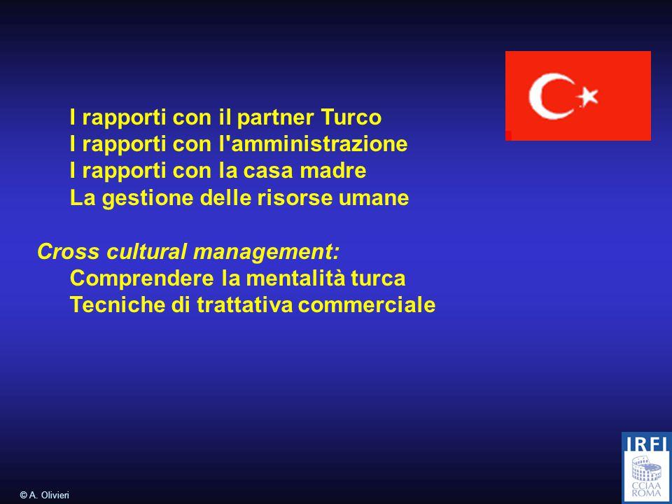 © A. Olivieri Brevi cenni sullo scenario attuale del commercio Internazionale Focus: Turchia