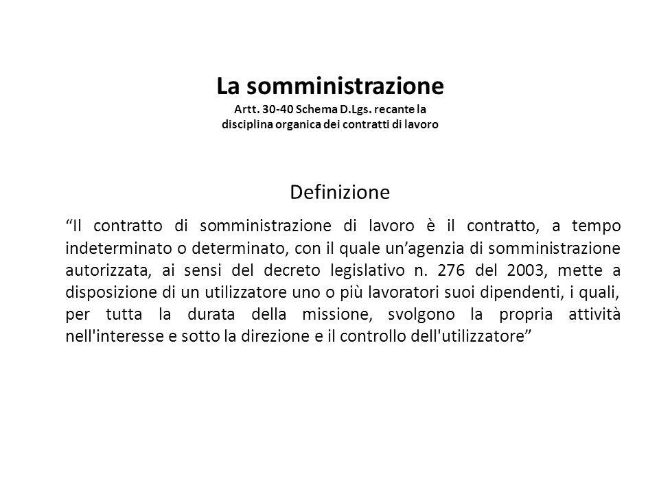 """La somministrazione Artt. 30-40 Schema D.Lgs. recante la disciplina organica dei contratti di lavoro Definizione """"Il contratto di somministrazione di"""