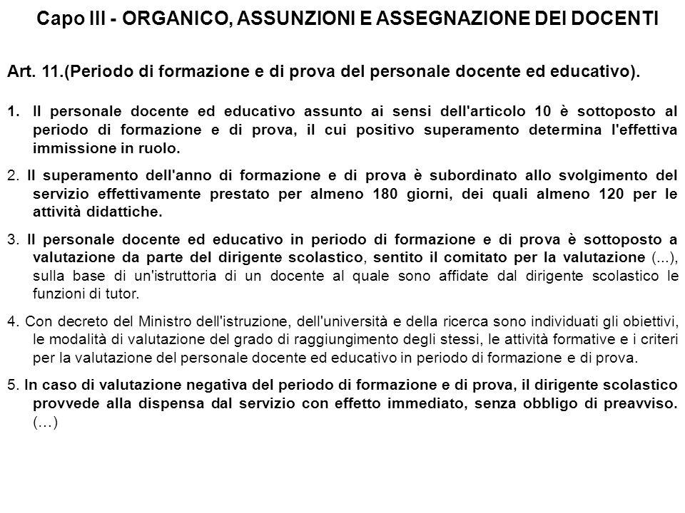 Art.11.(Periodo di formazione e di prova del personale docente ed educativo).