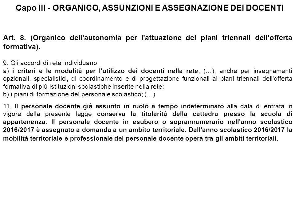 Capo III - ORGANICO, ASSUNZIONI E ASSEGNAZIONE DEI DOCENTI Art.