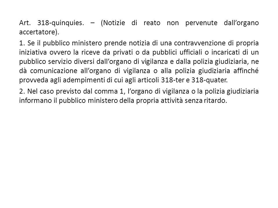 Art. 318-quinquies. – (Notizie di reato non pervenute dall'organo accertatore). 1. Se il pubblico ministero prende notizia di una contravvenzione di p