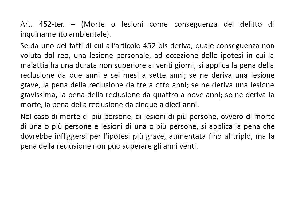 Art. 452-ter. – (Morte o lesioni come conseguenza del delitto di inquinamento ambientale). Se da uno dei fatti di cui all'articolo 452-bis deriva, qua