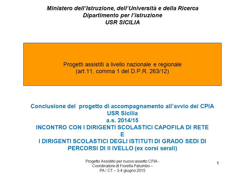 1 Ministero dell'Istruzione, dell'Università e della Ricerca Dipartimento per l'istruzione USR SICILIA Progetti assistiti a livello nazionale e regionale (art.11, comma 1 del D.P.R.