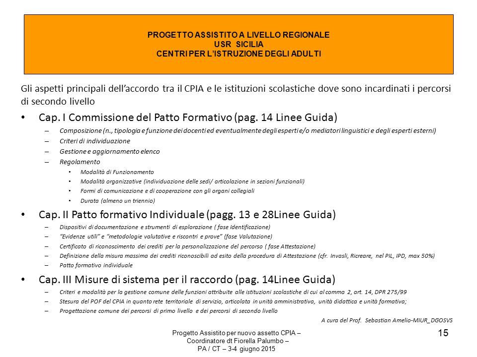 Progetto Assistito per nuovo assetto CPIA – Coordinatore dt Fiorella Palumbo – PA / CT – 3-4 giugno 2015 15 PROGETTO ASSISTITO A LIVELLO REGIONALE USR SICILIA CENTRI PER L'ISTRUZIONE DEGLI ADULTI Gli aspetti principali dell'accordo tra il CPIA e le istituzioni scolastiche dove sono incardinati i percorsi di secondo livello Cap.