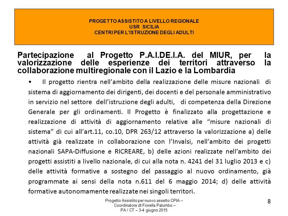 Progetto Assistito per nuovo assetto CPIA – Coordinatore dt Fiorella Palumbo – PA / CT – 3-4 giugno 2015 8 Partecipazione al Progetto P.A.I.DE.I.A.
