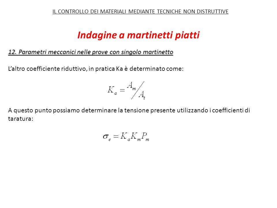 12. Parametri meccanici nelle prove con singolo martinetto L'altro coefficiente riduttivo, in pratica Ka è determinato come: A questo punto possiamo d