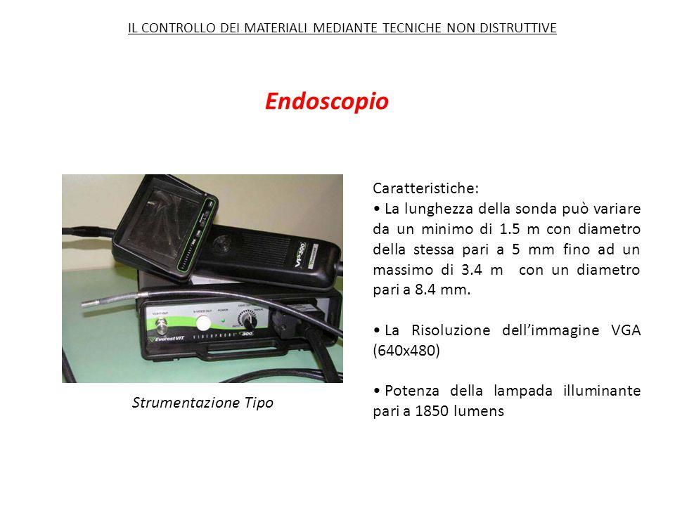 Endoscopio Strumentazione Tipo Caratteristiche: La lunghezza della sonda può variare da un minimo di 1.5 m con diametro della stessa pari a 5 mm fino