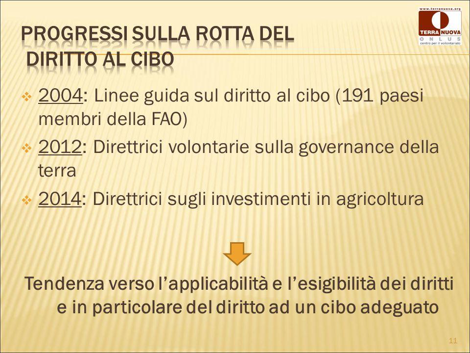  2004: Linee guida sul diritto al cibo (191 paesi membri della FAO)  2012: Direttrici volontarie sulla governance della terra  2014: Direttrici sugli investimenti in agricoltura Tendenza verso l'applicabilità e l'esigibilità dei diritti e in particolare del diritto ad un cibo adeguato 11