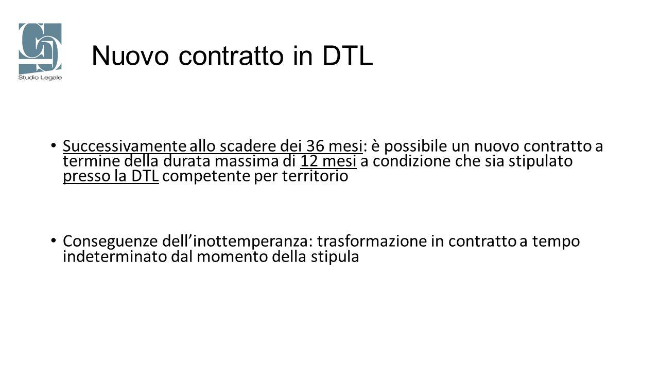 Nuovo contratto in DTL Successivamente allo scadere dei 36 mesi: è possibile un nuovo contratto a termine della durata massima di 12 mesi a condizione