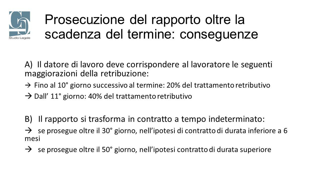 Prosecuzione del rapporto oltre la scadenza del termine: conseguenze A) Il datore di lavoro deve corrispondere al lavoratore le seguenti maggiorazioni