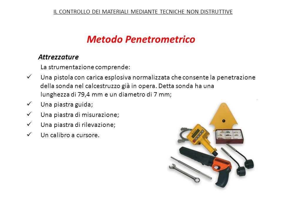 Metodo Penetrometrico Attrezzature La strumentazione comprende: Una pistola con carica esplosiva normalizzata che consente la penetrazione della sonda nel calcestruzzo già in opera.