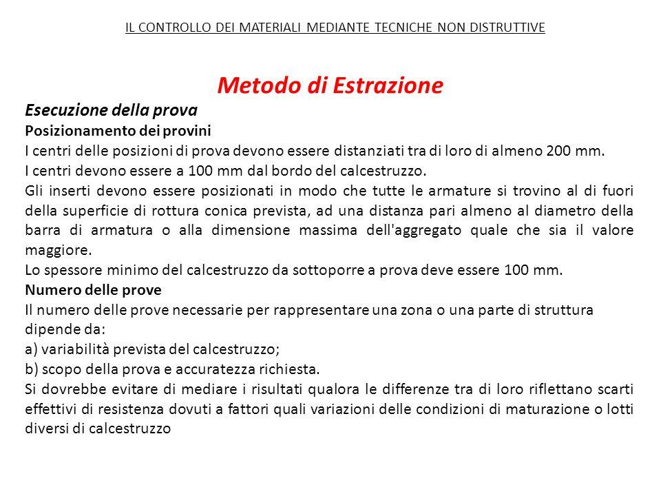 Metodo di Estrazione Esecuzione della prova Posizionamento dei provini I centri delle posizioni di prova devono essere distanziati tra di loro di almeno 200 mm.