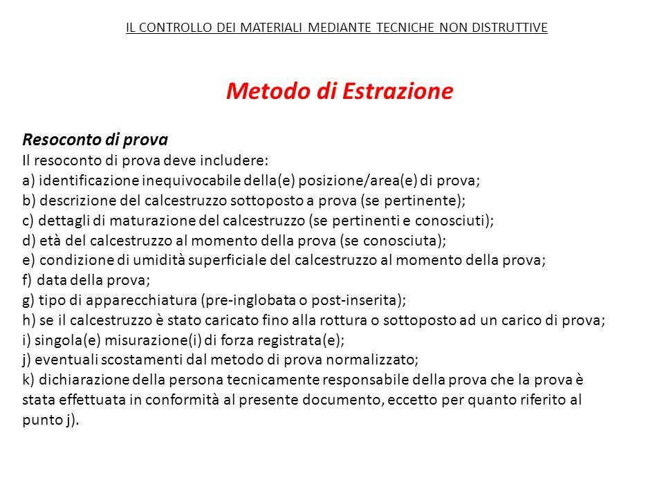 Metodo di Estrazione Resoconto di prova Il resoconto di prova deve includere: a) identificazione inequivocabile della(e) posizione/area(e) di prova; b