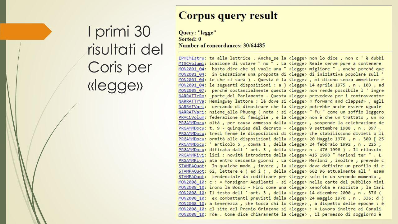 I primi 30 risultati del Coris per «legge»