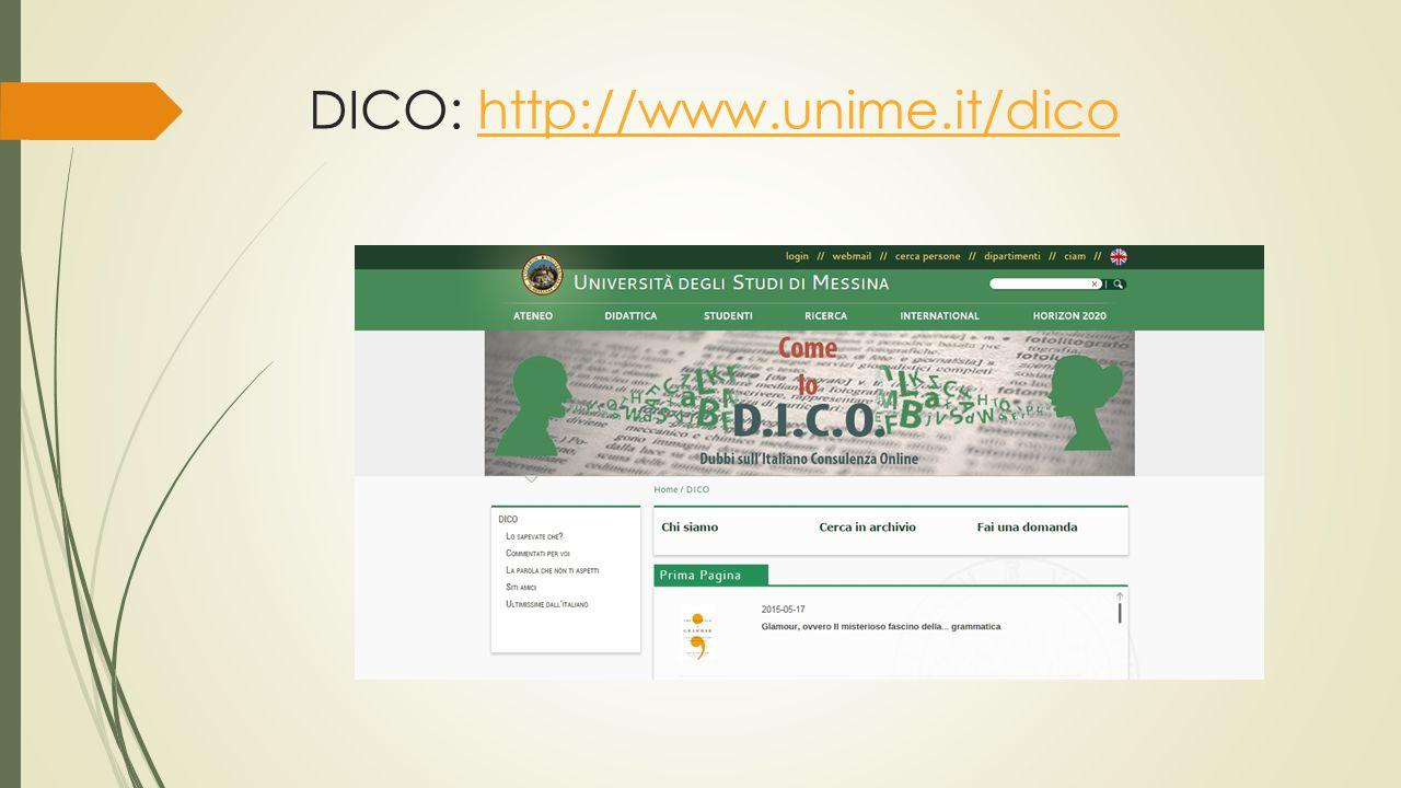 DICO: http://www.unime.it/dicohttp://www.unime.it/dico