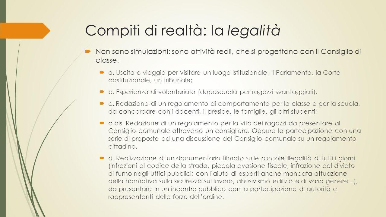 Compiti di realtà: la legalità  Non sono simulazioni: sono attività reali, che si progettano con il Consiglio di classe.