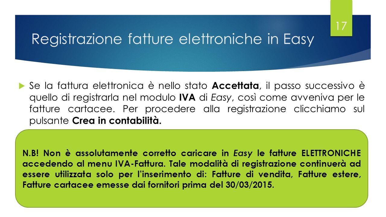 Registrazione fatture elettroniche in Easy  Se la fattura elettronica è nello stato Accettata, il passo successivo è quello di registrarla nel modulo IVA di Easy, così come avveniva per le fatture cartacee.