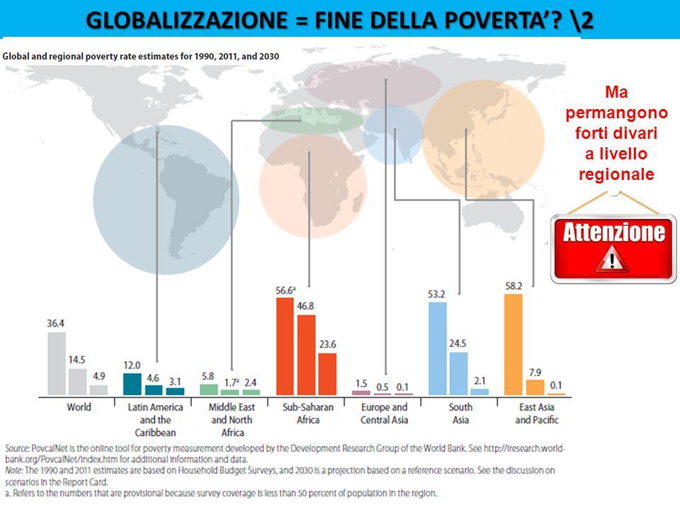 GLOBALIZZAZIONE = FINE DELLA POVERTA'? \2 Ma permangono forti divari a livello regionale