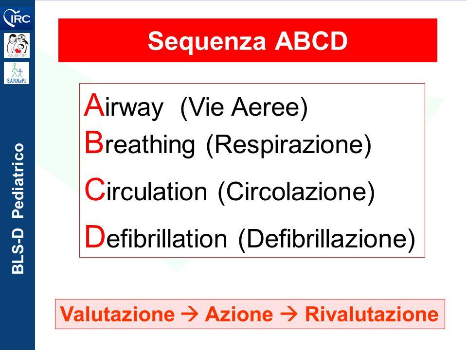 BLS-D Pediatrico A irway (Vie Aeree) B reathing (Respirazione) C irculation (Circolazione) D efibrillation (Defibrillazione) Valutazione  Azione  Ri