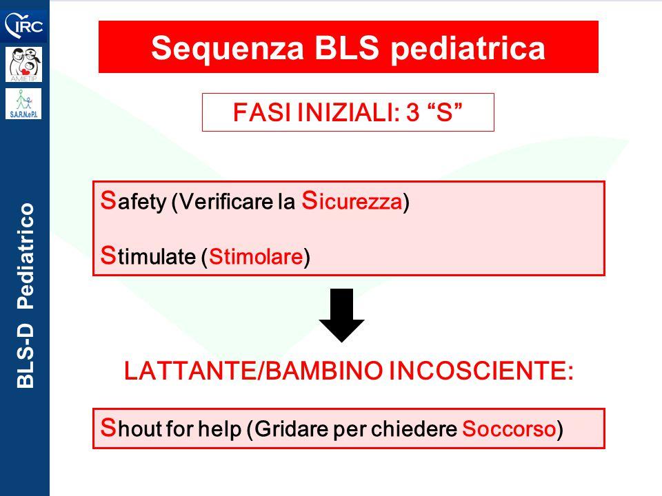 """BLS-D Pediatrico FASI INIZIALI: 3 """"S"""" S afety (Verificare la S icurezza) S timulate (Stimolare) Sequenza BLS pediatrica S hout for help (Gridare per c"""
