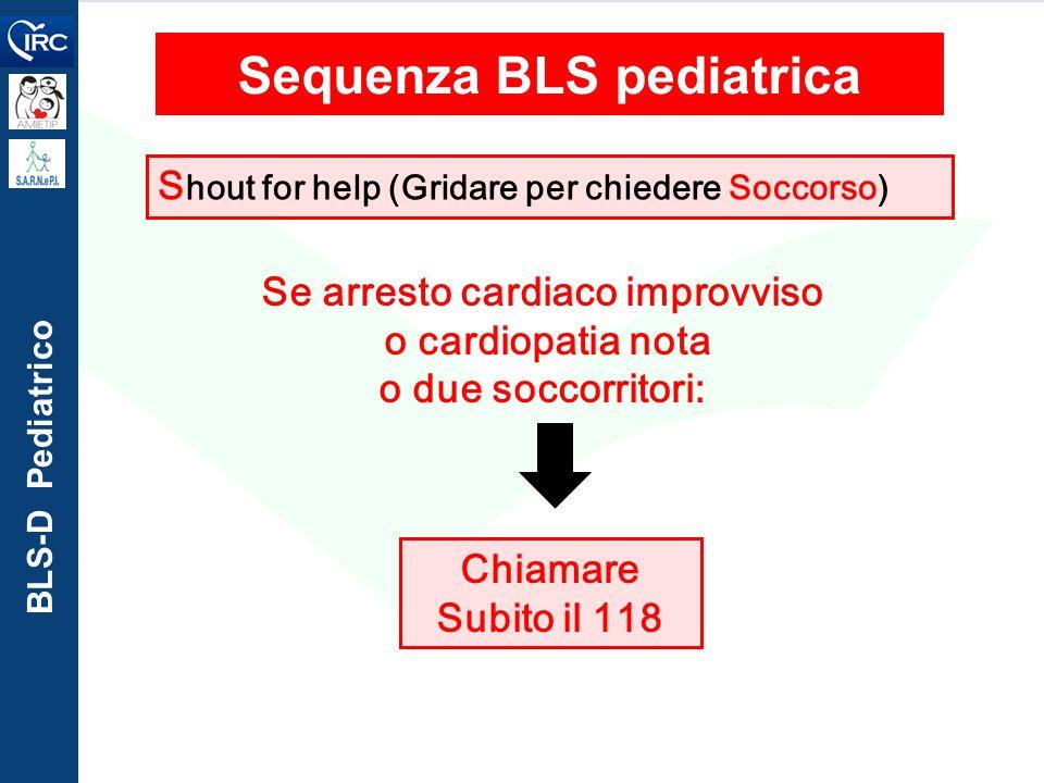 BLS-D Pediatrico Chiamare Subito il 118 Sequenza BLS pediatrica S hout for help (Gridare per chiedere Soccorso) Se arresto cardiaco improvviso o cardi