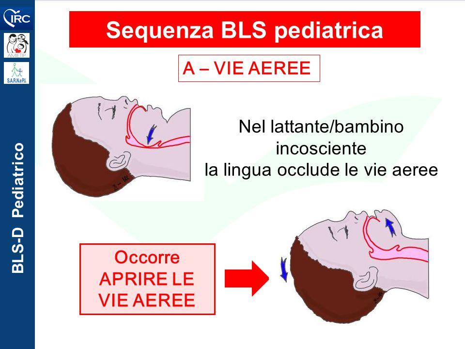 BLS-D Pediatrico A – VIE AEREE Sequenza BLS pediatrica Nel lattante/bambino incosciente la lingua occlude le vie aeree Occorre APRIRE LE VIE AEREE