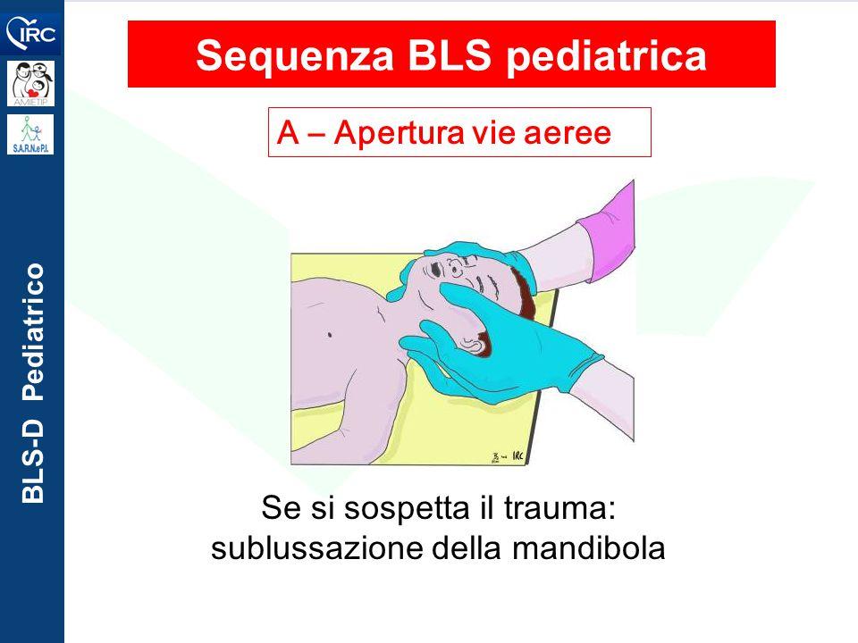 BLS-D Pediatrico A – Apertura vie aeree Sequenza BLS pediatrica Se si sospetta il trauma: sublussazione della mandibola