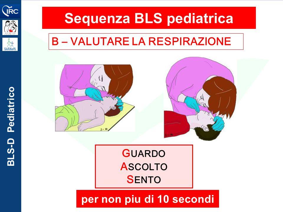 BLS-D Pediatrico B – VALUTARE LA RESPIRAZIONE Sequenza BLS pediatrica G UARDO A SCOLTO S ENTO per non piu di 10 secondi