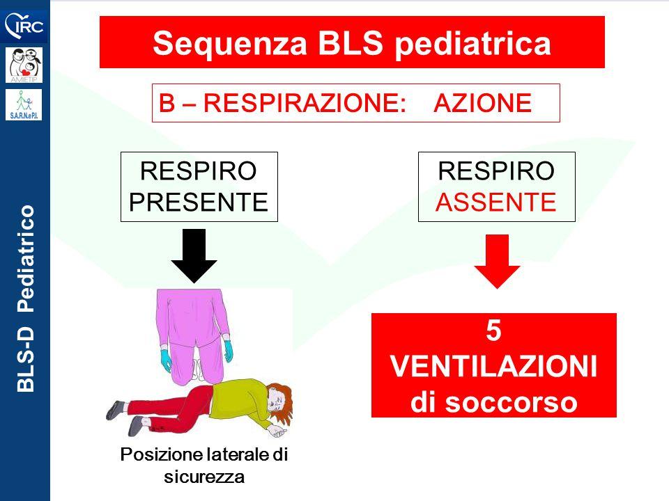 BLS-D Pediatrico B – RESPIRAZIONE: AZIONE Sequenza BLS pediatrica Posizione laterale di sicurezza RESPIRO PRESENTE 5 VENTILAZIONI di soccorso RESPIRO