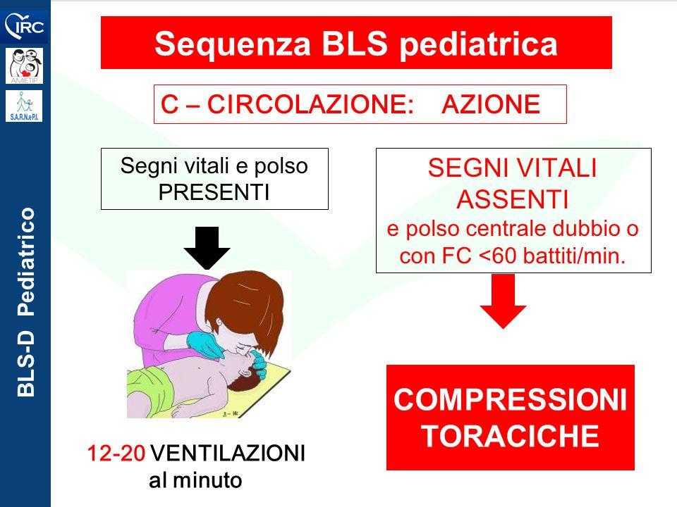BLS-D Pediatrico C – CIRCOLAZIONE: AZIONE Sequenza BLS pediatrica 12-20 VENTILAZIONI al minuto Segni vitali e polso PRESENTI COMPRESSIONI TORACICHE SE