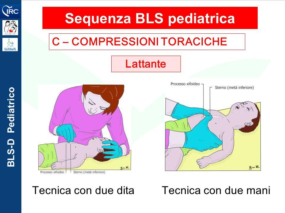 BLS-D Pediatrico C – COMPRESSIONI TORACICHE Sequenza BLS pediatrica Lattante Tecnica con due ditaTecnica con due mani